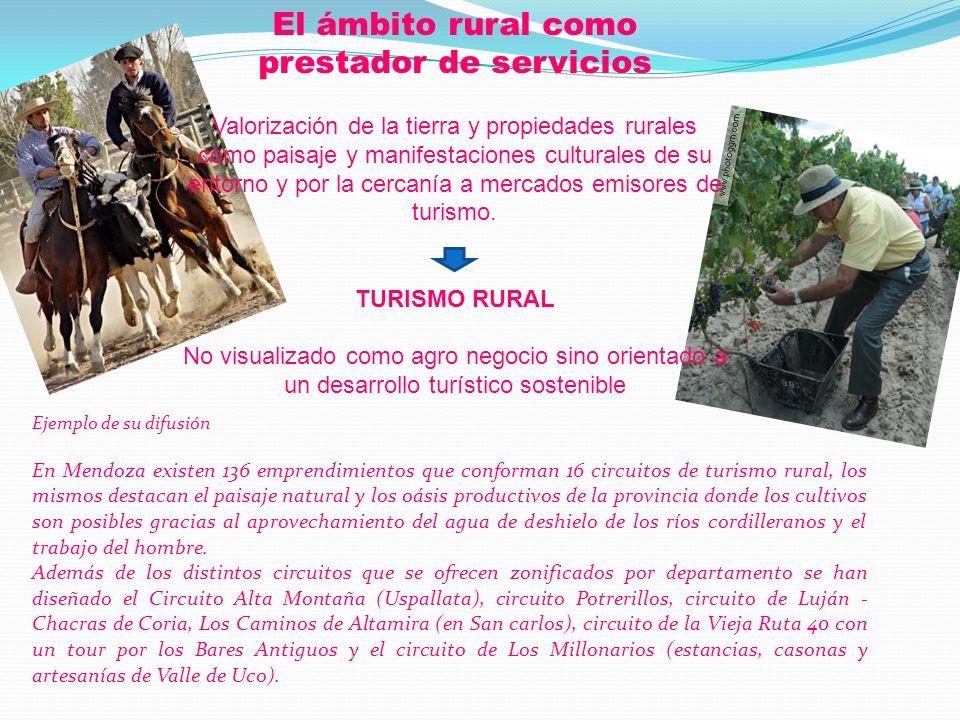 El ámbito rural como prestador de servicios Valorización de la tierra y propiedades rurales como paisaje y manifestaciones culturales de su entorno y