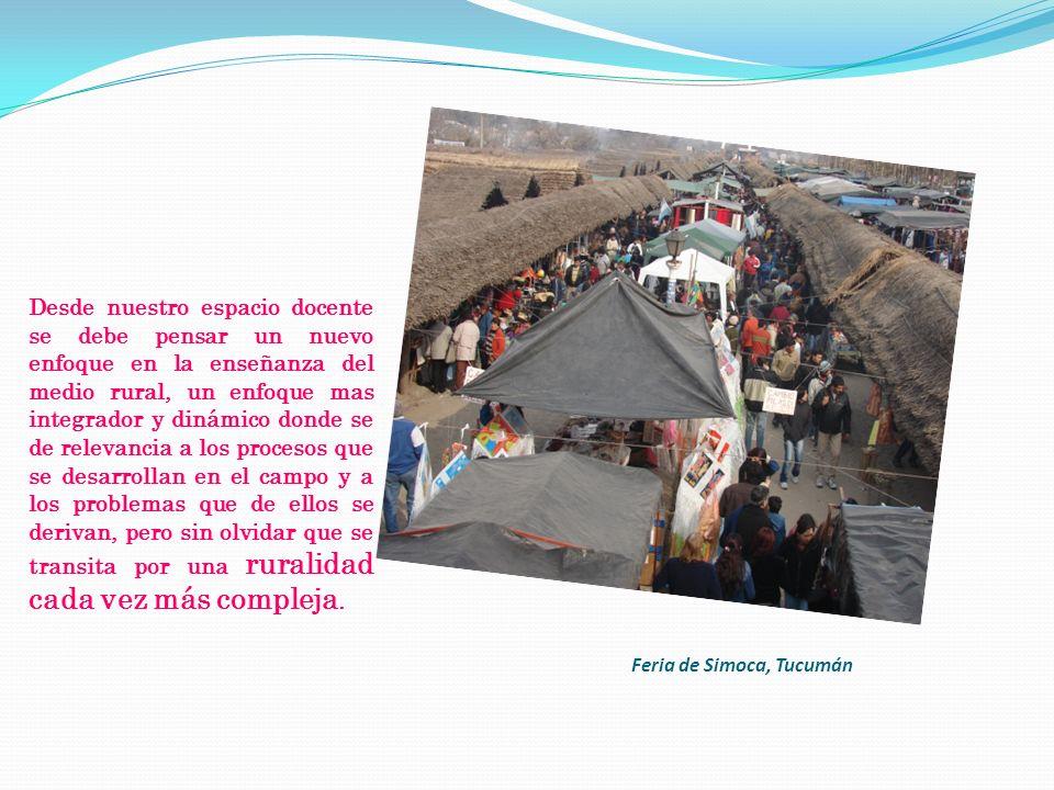 Feria de Simoca, Tucumán Desde nuestro espacio docente se debe pensar un nuevo enfoque en la enseñanza del medio rural, un enfoque mas integrador y di
