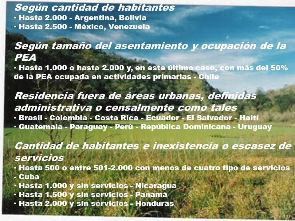 Según cantidad de habitantes · Hasta 2.000 - Argentina, Bolivia · Hasta 2.500 - México, Venezuela Según tamaño del asentamiento y ocupación de la PEA