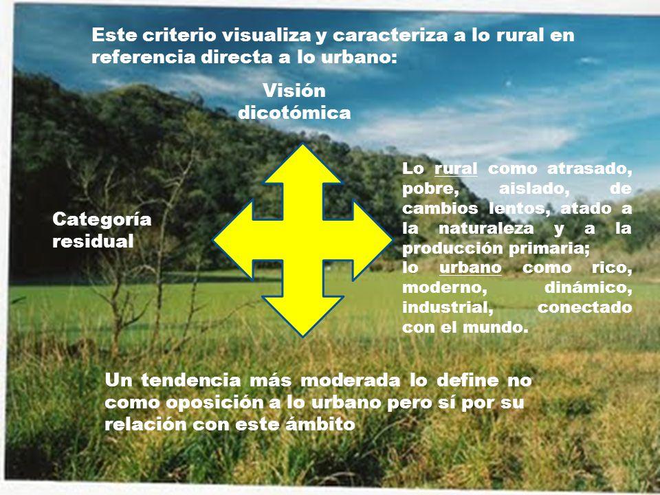 Este criterio visualiza y caracteriza a lo rural en referencia directa a lo urbano: Categoría residual Visión dicotómica Lo rural como atrasado, pobre