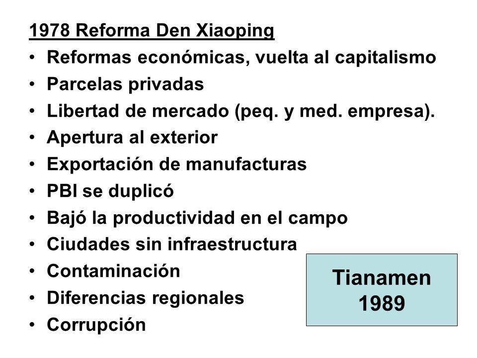 1978 Reforma Den Xiaoping Reformas económicas, vuelta al capitalismo Parcelas privadas Libertad de mercado (peq.