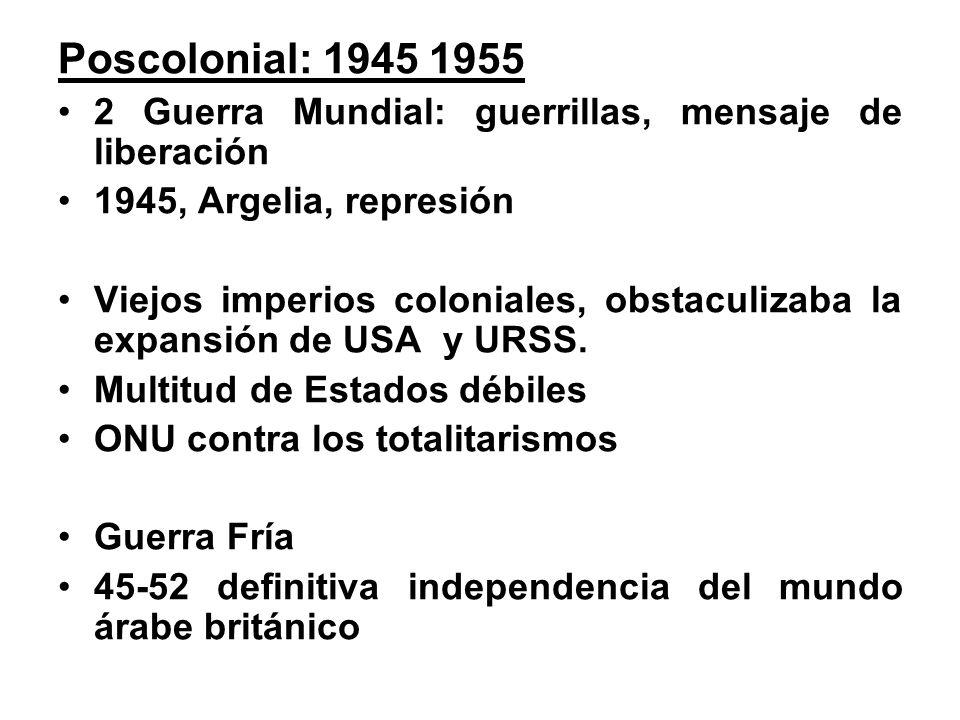 Poscolonial: 1945 1955 2 Guerra Mundial: guerrillas, mensaje de liberación 1945, Argelia, represión Viejos imperios coloniales, obstaculizaba la expansión de USA y URSS.