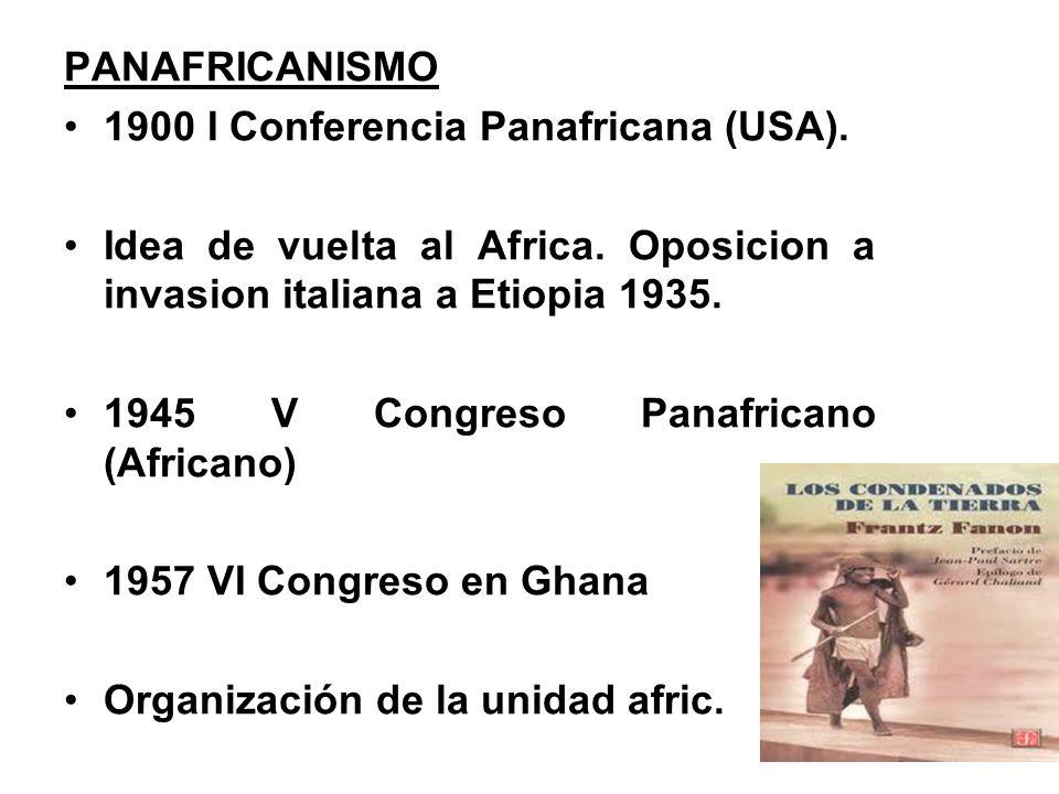 PANAFRICANISMO 1900 I Conferencia Panafricana (USA).
