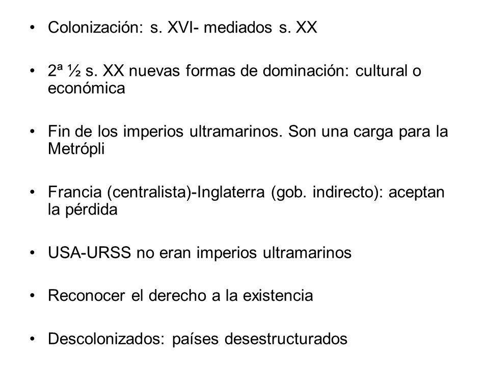 Colonización: s.XVI- mediados s. XX 2ª ½ s.