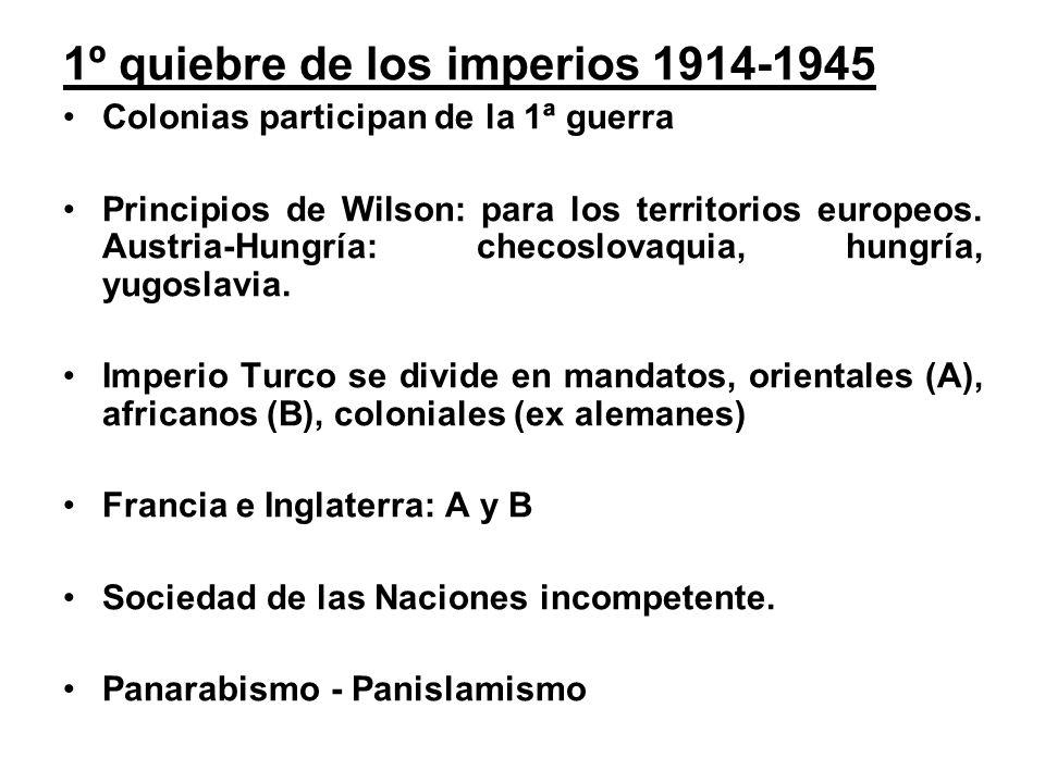 1º quiebre de los imperios 1914-1945 Colonias participan de la 1ª guerra Principios de Wilson: para los territorios europeos.