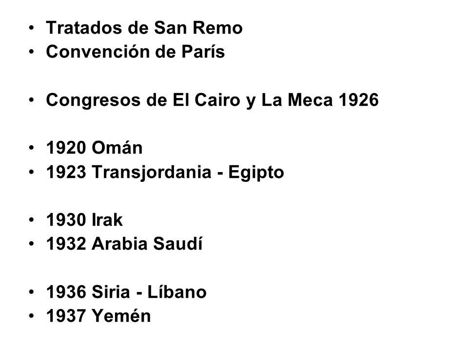 Tratados de San Remo Convención de París Congresos de El Cairo y La Meca 1926 1920 Omán 1923 Transjordania - Egipto 1930 Irak 1932 Arabia Saudí 1936 Siria - Líbano 1937 Yemén