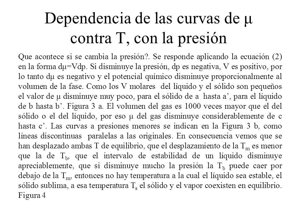 Si se considera a T como la variable independiente, la Línea BC proporciona la presion de vapor de la sustancia pura en funcion de la temperatura.