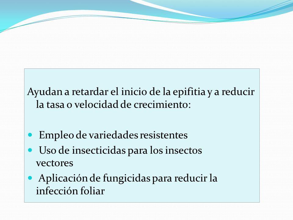 Ayudan a retardar el inicio de la epifitia y a reducir la tasa o velocidad de crecimiento: Empleo de variedades resistentes Uso de insecticidas para l