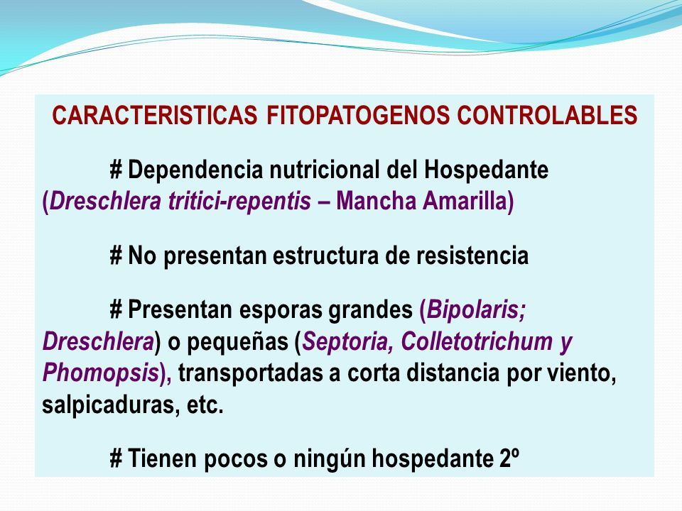 CARACTERISTICAS FITOPATOGENOS CONTROLABLES # Dependencia nutricional del Hospedante ( Dreschlera tritici-repentis – Mancha Amarilla) # No presentan es
