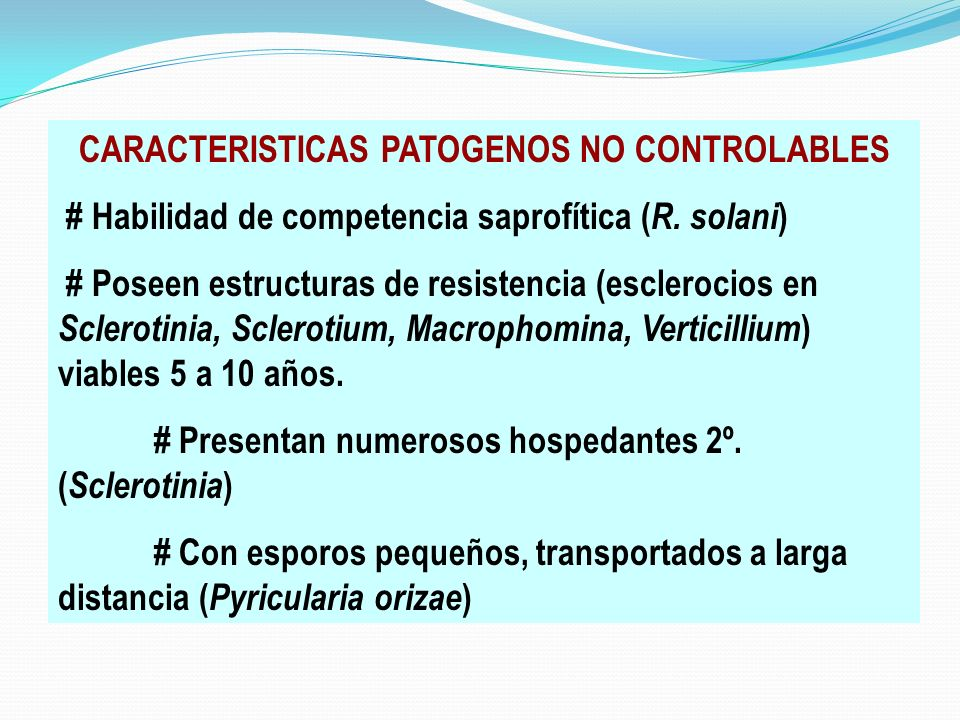 CARACTERISTICAS PATOGENOS NO CONTROLABLES # Habilidad de competencia saprofítica ( R. solani ) # Poseen estructuras de resistencia (esclerocios en Scl