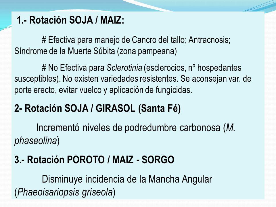 1.- Rotación SOJA / MAIZ: # Efectiva para manejo de Cancro del tallo; Antracnosis; Síndrome de la Muerte Súbita (zona pampeana) # No Efectiva para Scl