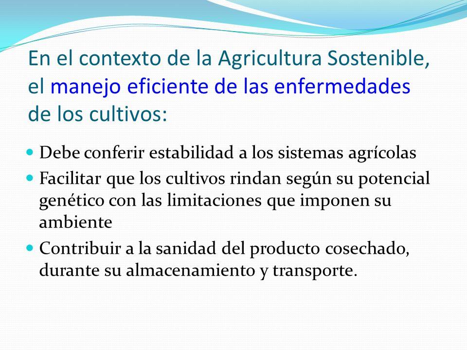 En el contexto de la Agricultura Sostenible, el manejo eficiente de las enfermedades de los cultivos: Debe conferir estabilidad a los sistemas agrícol