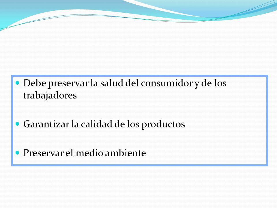 Debe preservar la salud del consumidor y de los trabajadores Garantizar la calidad de los productos Preservar el medio ambiente