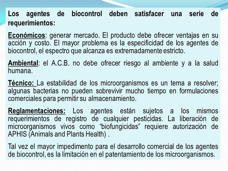 Los agentes de biocontrol deben satisfacer una serie de requerimientos: Económicos : generar mercado. El producto debe ofrecer ventajas en su acción y