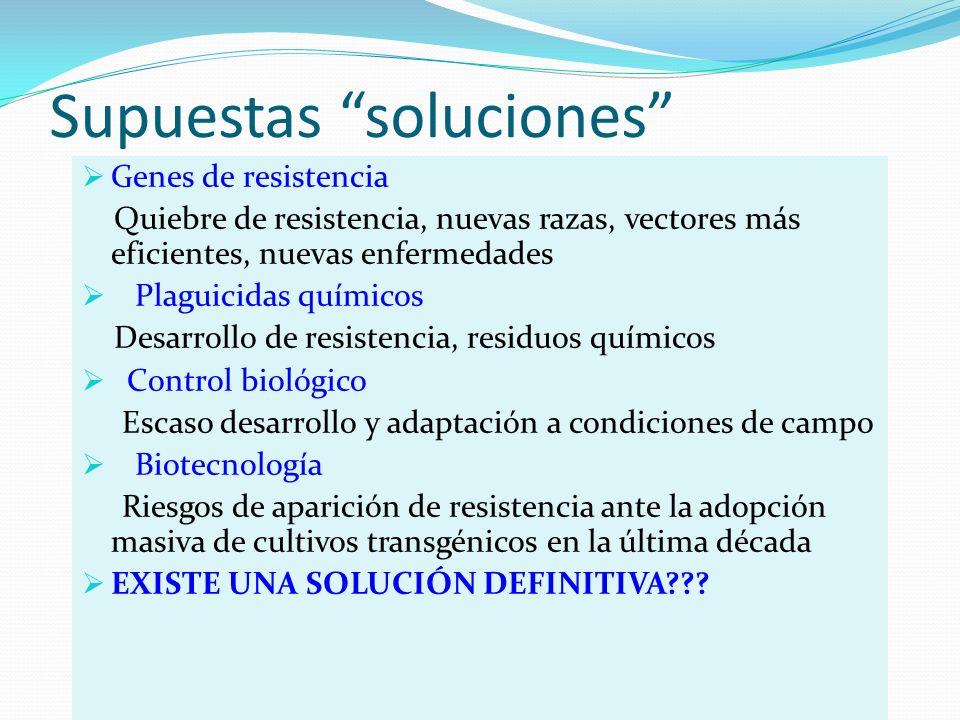 Supuestas soluciones Genes de resistencia Quiebre de resistencia, nuevas razas, vectores más eficientes, nuevas enfermedades Plaguicidas químicos Desa