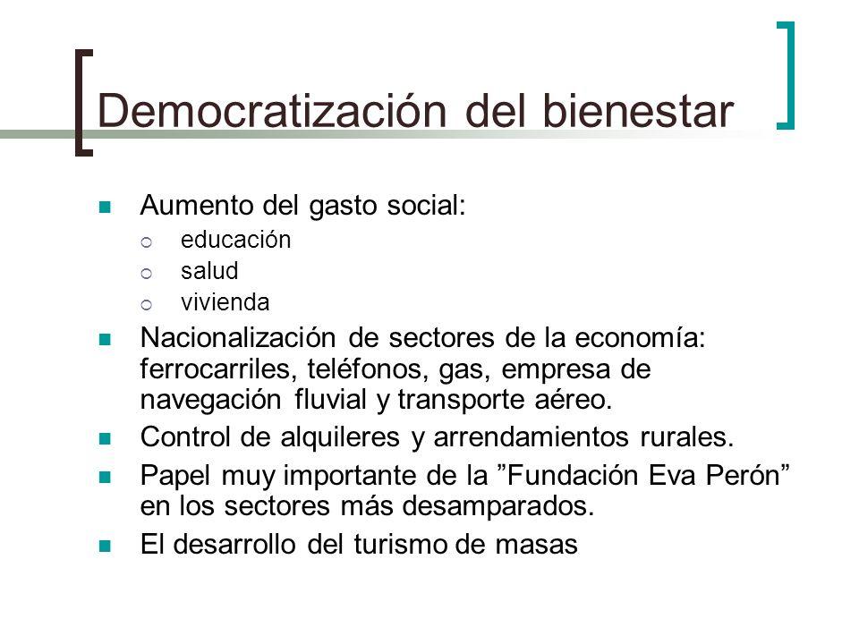 Democratización del bienestar Aumento del gasto social: educación salud vivienda Nacionalización de sectores de la economía: ferrocarriles, teléfonos,