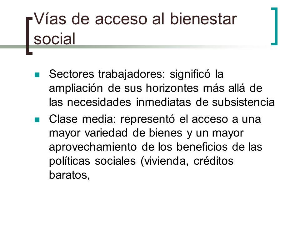 Vías de acceso al bienestar social Sectores trabajadores: significó la ampliación de sus horizontes más allá de las necesidades inmediatas de subsiste