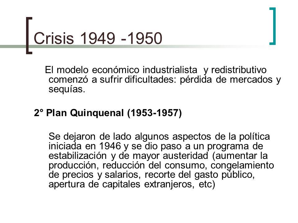 Crisis 1949 -1950 El modelo económico industrialista y redistributivo comenzó a sufrir dificultades: pérdida de mercados y sequías. 2° Plan Quinquenal