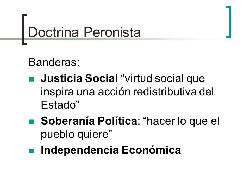 Doctrina Peronista Banderas: Justicia Social virtud social que inspira una acción redistributiva del Estado Soberanía Política: hacer lo que el pueblo