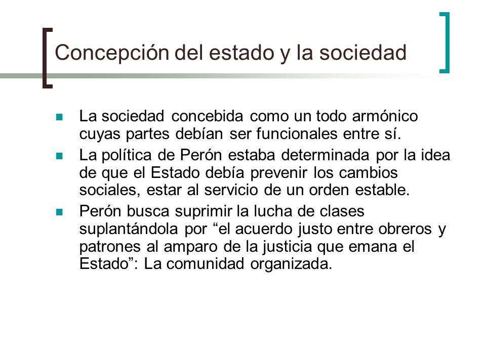 Concepción del estado y la sociedad La sociedad concebida como un todo armónico cuyas partes debían ser funcionales entre sí. La política de Perón est