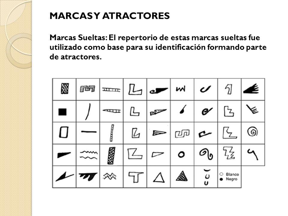MARCAS Y ATRACTORES Marcas Sueltas: El repertorio de estas marcas sueltas fue utilizado como base para su identificación formando parte de atractores.