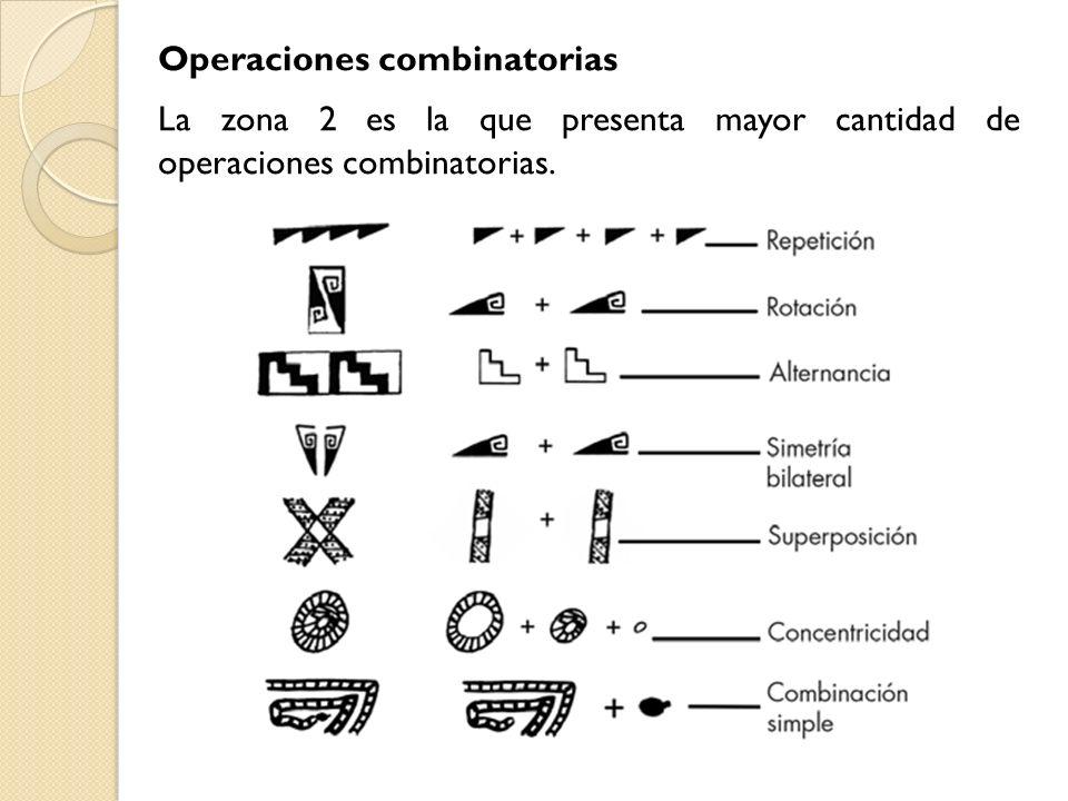 Operaciones combinatorias La zona 2 es la que presenta mayor cantidad de operaciones combinatorias.