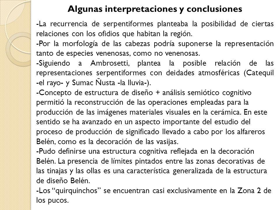 Algunas interpretaciones y conclusiones -La recurrencia de serpentiformes planteaba la posibilidad de ciertas relaciones con los ofidios que habitan l