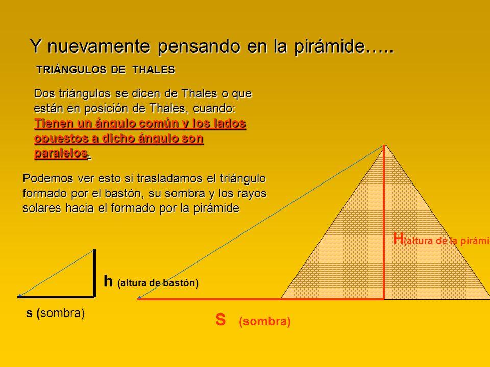 Y nuevamente pensando en la pirámide….. TRIÁNGULOS DE THALES Dos triángulos se dicen de Thales o que están en posición de Thales, cuando: Tienen un án