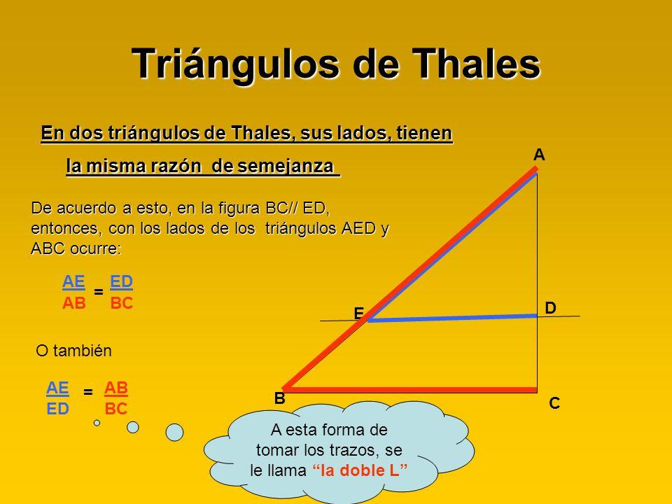 Triángulos de Thales En dos triángulos de Thales, sus lados, tienen la misma razón de semejanza En dos triángulos de Thales, sus lados, tienen la mism