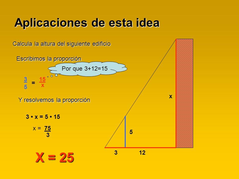 Aplicaciones de esta idea Calcula la altura del siguiente edificio x 5 312 Escribimos la proporción 3 5 = 15 x Y resolvemos la proporción 3 x = 5 15 x