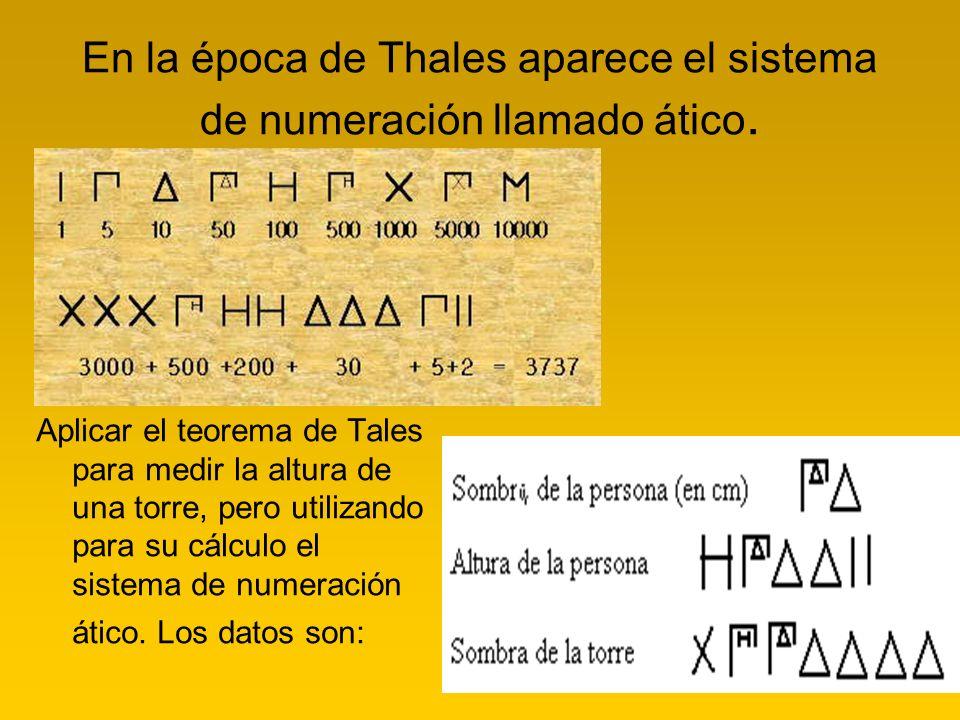 En la época de Thales aparece el sistema de numeración llamado ático. Aplicar el teorema de Tales para medir la altura de una torre, pero utilizando p
