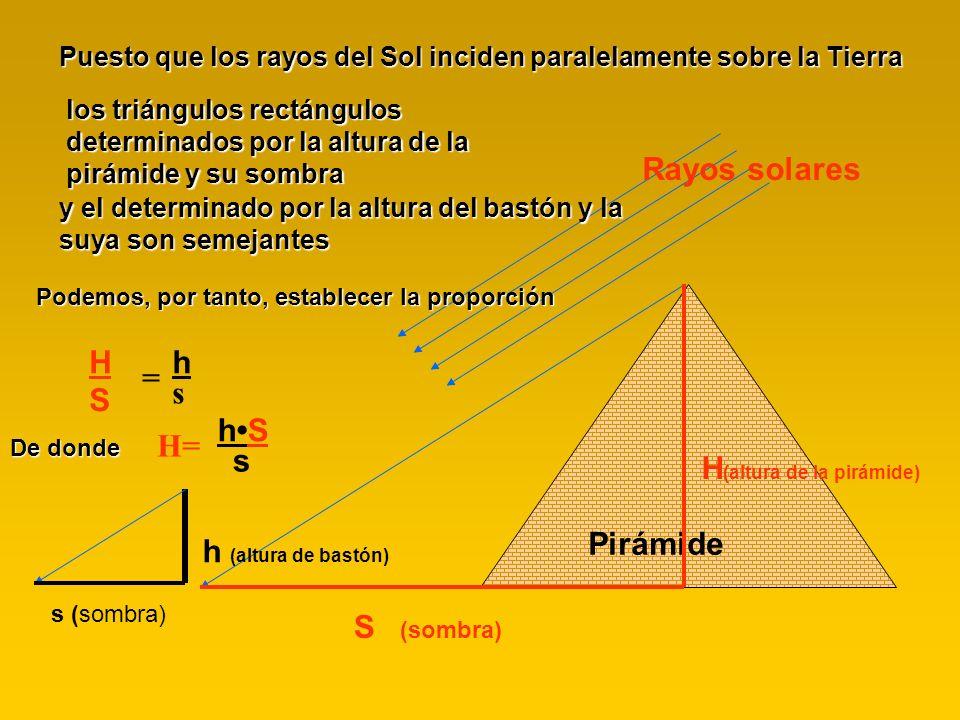 Rayos solares Pirámide S (sombra) H (altura de la pirámide) s (sombra) h (altura de bastón) Puesto que los rayos del Sol inciden paralelamente sobre l