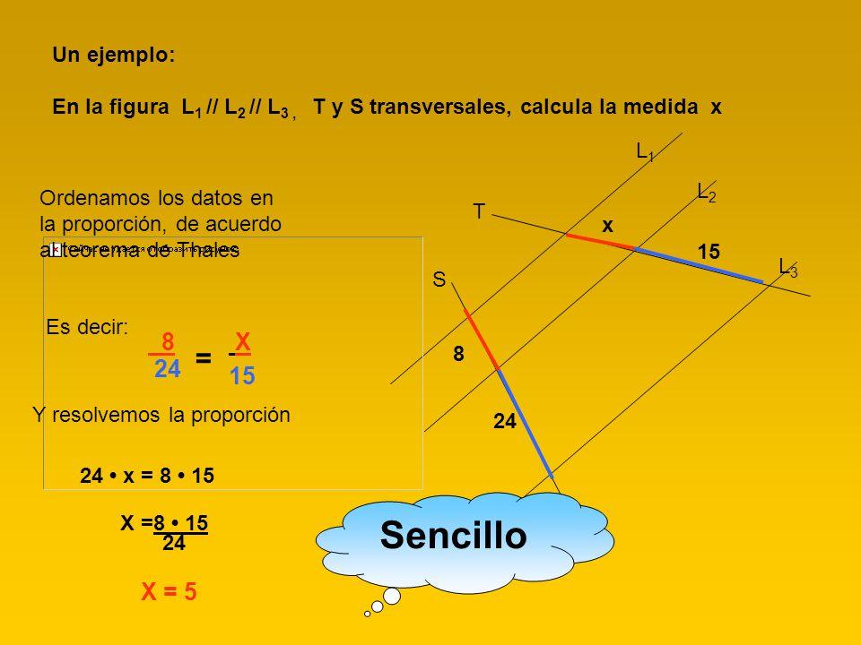 L1L1 L2L2 L3L3 T S 8 24 x 15 Un ejemplo: En la figura L 1 // L 2 // L 3, T y S transversales, calcula la medida x Ordenamos los datos en la proporción
