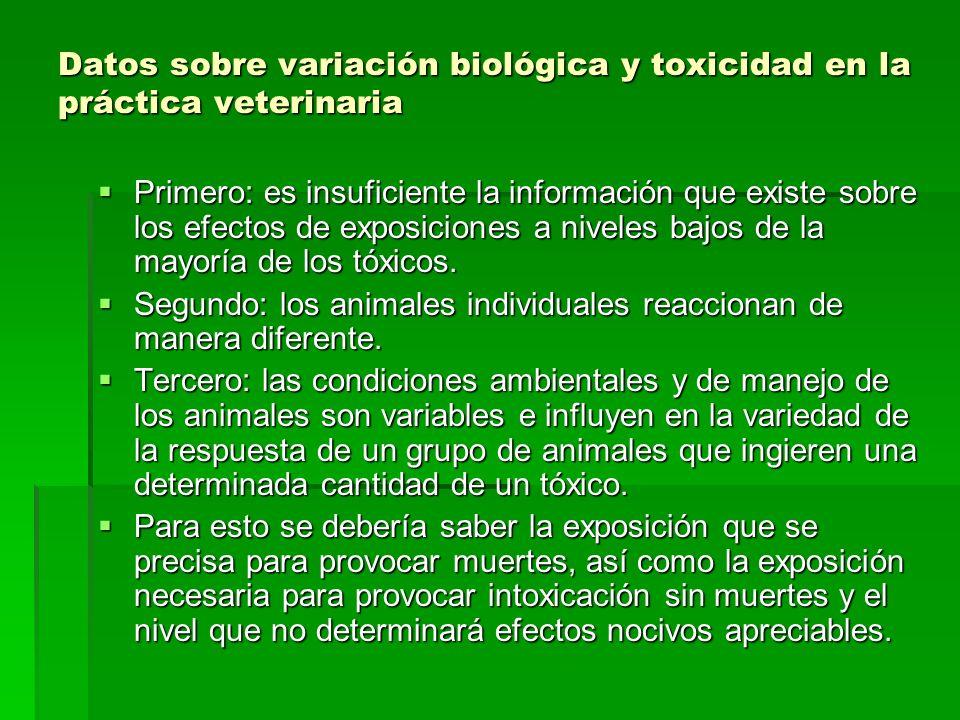 Datos sobre variación biológica y toxicidad en la práctica veterinaria Primero: es insuficiente la información que existe sobre los efectos de exposic