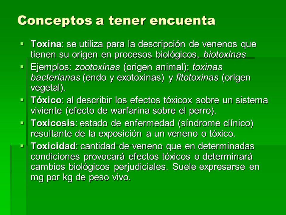Conceptos a tener encuenta Toxina: se utiliza para la descripción de venenos que tienen su origen en procesos biológicos, biotoxinas Toxina: se utiliz