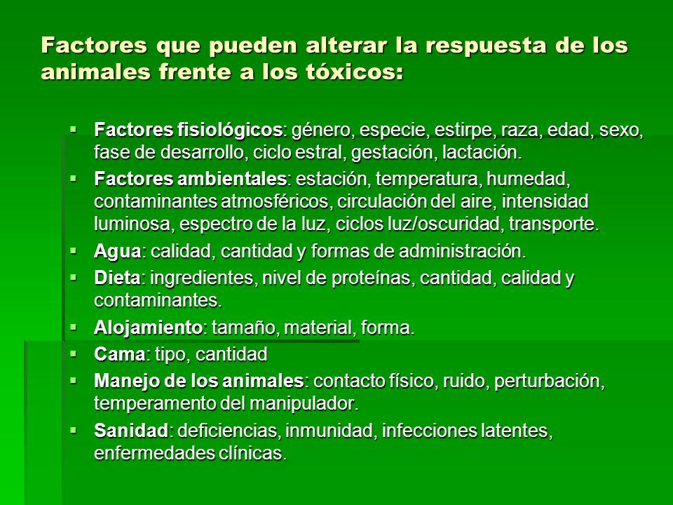 Factores que pueden alterar la respuesta de los animales frente a los tóxicos: Factores fisiológicos: género, especie, estirpe, raza, edad, sexo, fase