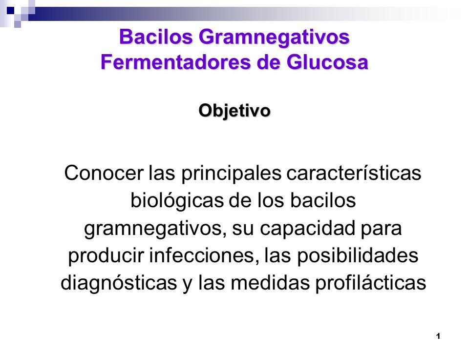 1 Bacilos Gramnegativos Fermentadores de Glucosa Objetivo Conocer las principales características biológicas de los bacilos gramnegativos, su capacida