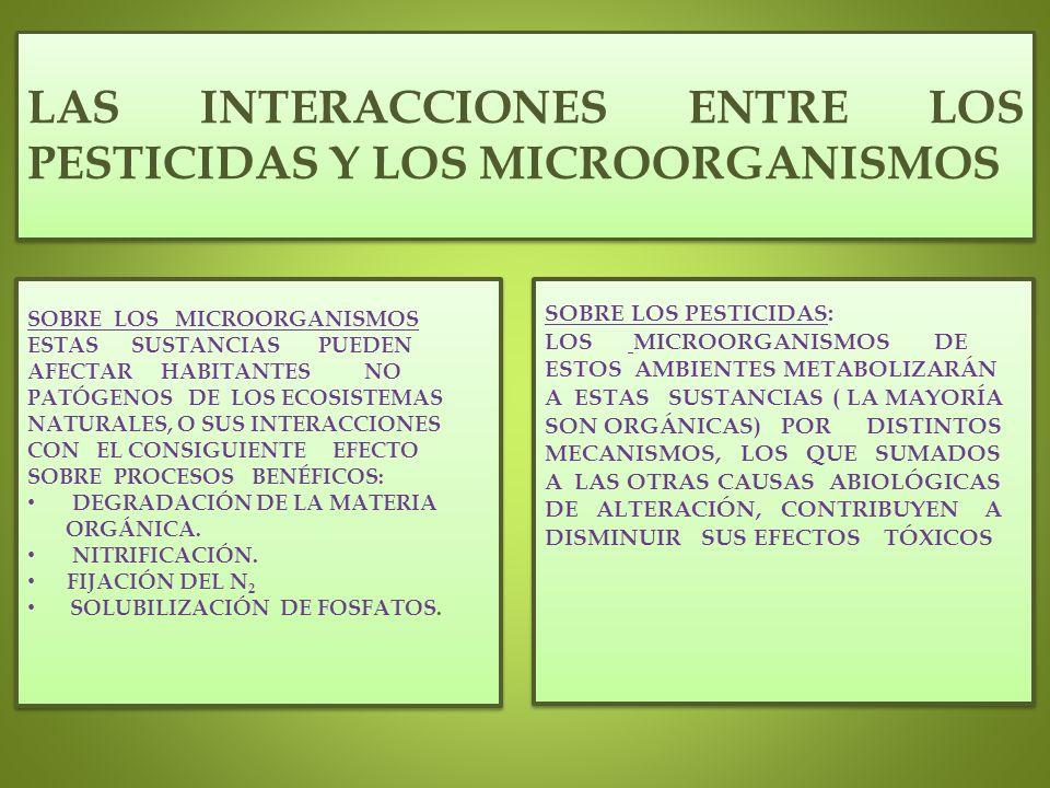 LAS INTERACCIONES ENTRE LOS PESTICIDAS Y LOS MICROORGANISMOS SOBRE LOS MICROORGANISMOS ESTAS SUSTANCIAS PUEDEN AFECTAR HABITANTES NO PATÓGENOS DE LOS