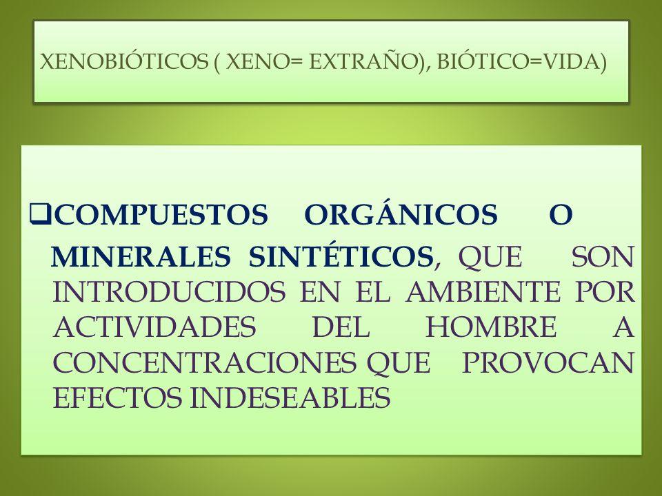 XENOBIÓTICOS ( XENO= EXTRAÑO), BIÓTICO=VIDA) COMPUESTOS ORGÁNICOS O MINERALES SINTÉTICOS, QUE SON INTRODUCIDOS EN EL AMBIENTE POR ACTIVIDADES DEL HOMB