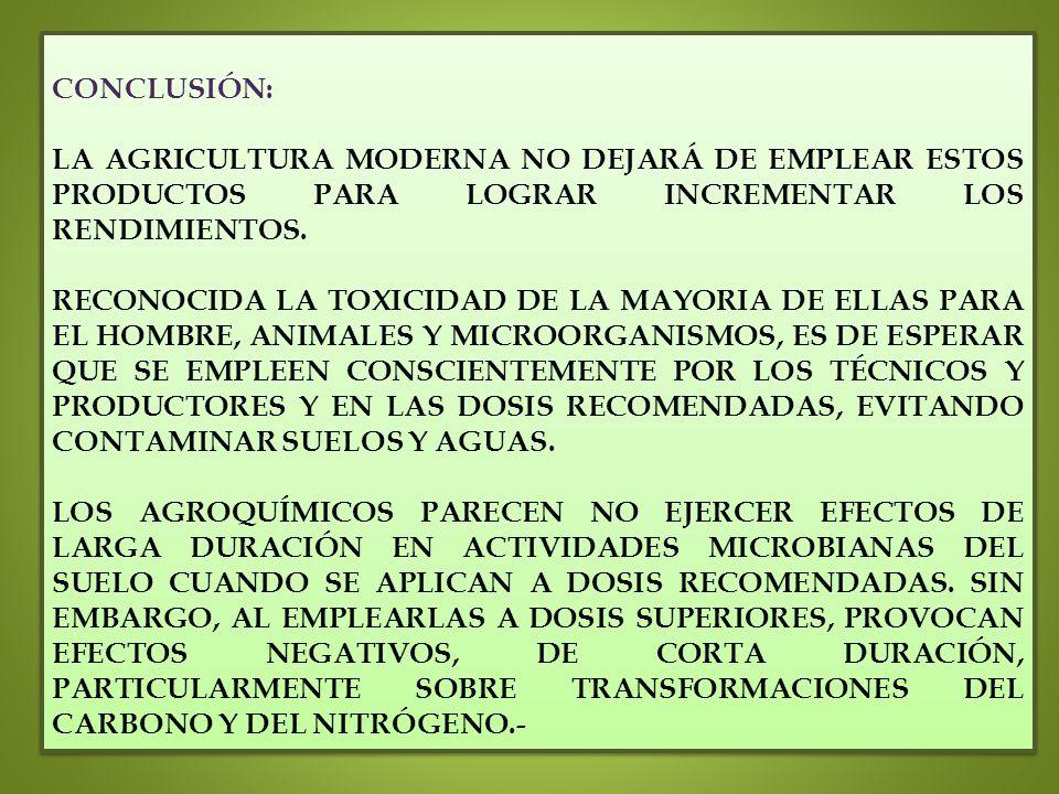 CONCLUSIÓN: LA AGRICULTURA MODERNA NO DEJARÁ DE EMPLEAR ESTOS PRODUCTOS PARA LOGRAR INCREMENTAR LOS RENDIMIENTOS. RECONOCIDA LA TOXICIDAD DE LA MAYORI