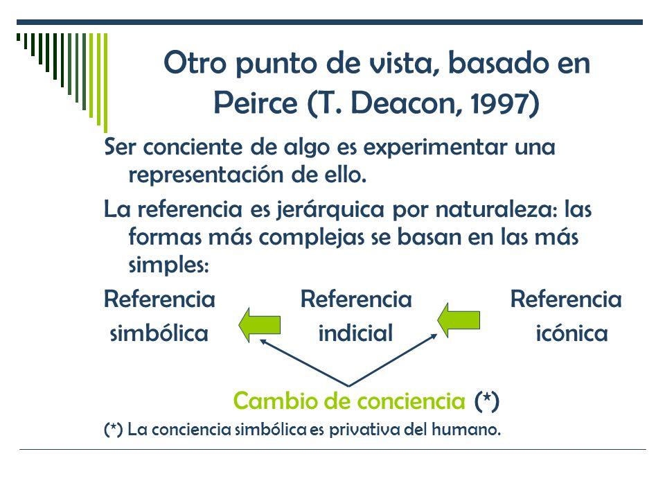 Otro punto de vista, basado en Peirce (T. Deacon, 1997) Ser conciente de algo es experimentar una representación de ello. La referencia es jerárquica