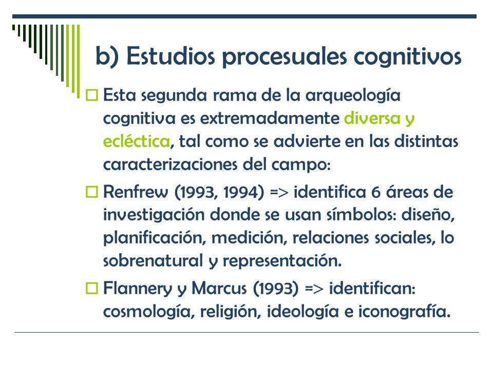 b) Estudios procesuales cognitivos Esta segunda rama de la arqueología cognitiva es extremadamente diversa y ecléctica, tal como se advierte en las di