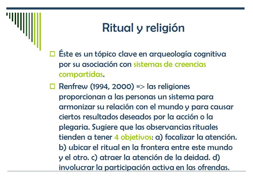 Ritual y religión Éste es un tópico clave en arqueología cognitiva por su asociación con sistemas de creencias compartidas. Renfrew (1994, 2000) = las