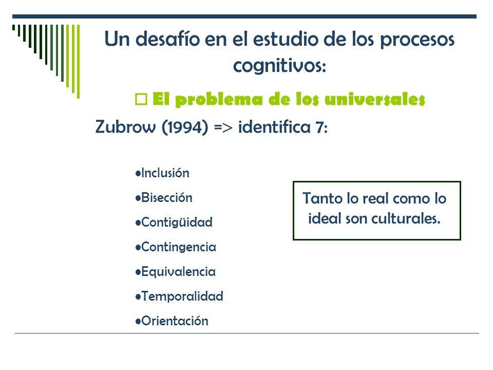 Un desafío en el estudio de los procesos cognitivos: El problema de los universales Zubrow (1994) = identifica 7: Inclusión Bisección Contigüidad Cont