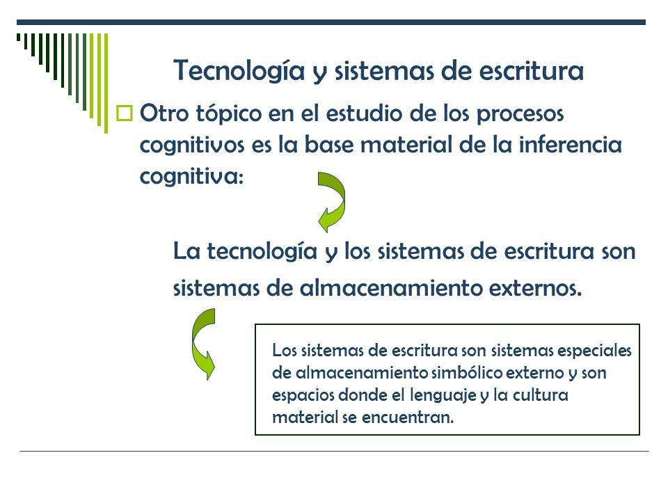 Tecnología y sistemas de escritura Otro tópico en el estudio de los procesos cognitivos es la base material de la inferencia cognitiva: La tecnología