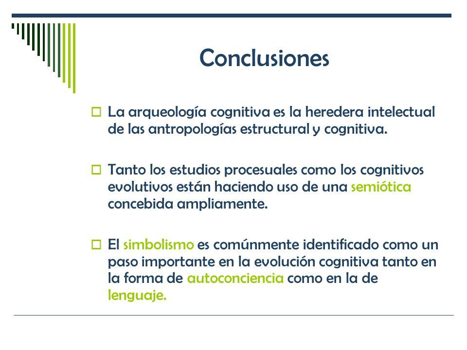 Conclusiones La arqueología cognitiva es la heredera intelectual de las antropologías estructural y cognitiva. Tanto los estudios procesuales como los