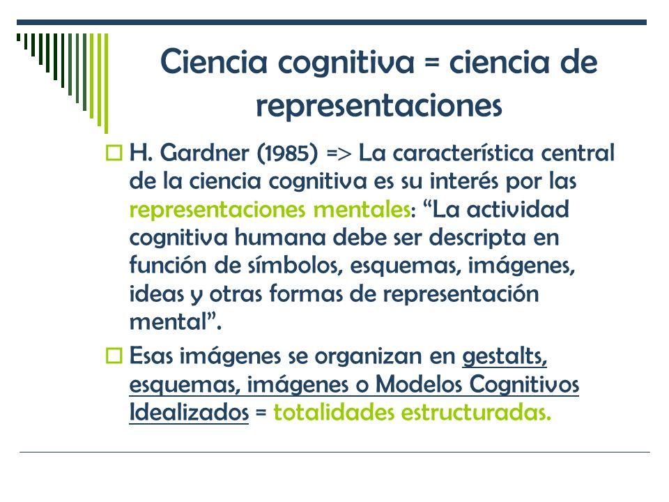 Ciencia cognitiva = ciencia de representaciones H. Gardner (1985) = La característica central de la ciencia cognitiva es su interés por las representa