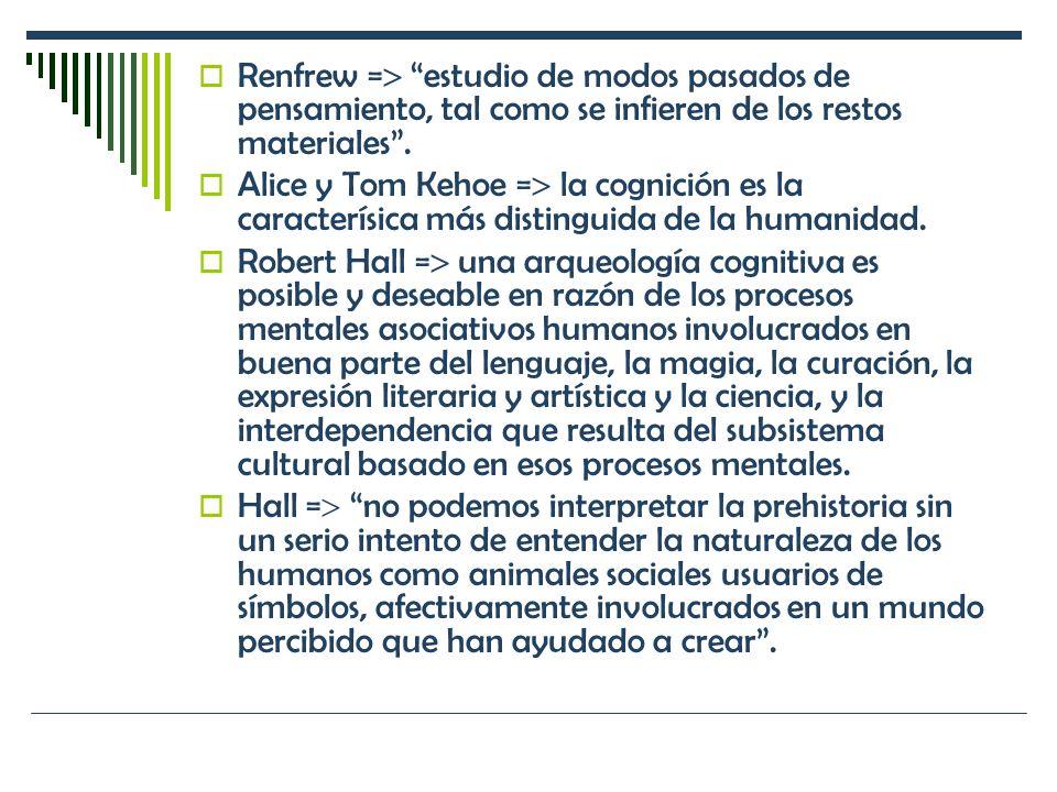 Renfrew = estudio de modos pasados de pensamiento, tal como se infieren de los restos materiales. Alice y Tom Kehoe = la cognición es la caracterísica