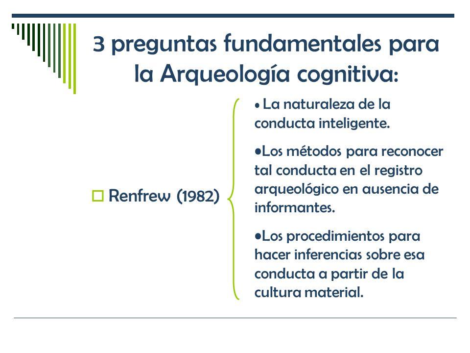 3 preguntas fundamentales para la Arqueología cognitiva: Renfrew (1982) La naturaleza de la conducta inteligente. Los métodos para reconocer tal condu