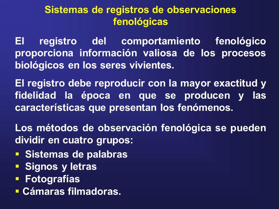 Sistemas de registros de observaciones fenológicas El registro del comportamiento fenológico proporciona información valiosa de los procesos biológico